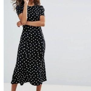 ASOS Polka Dot City Tea Cup Midi Dress Size 2